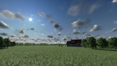 House on green meadow and horses, timelapse clouds — Stock Video