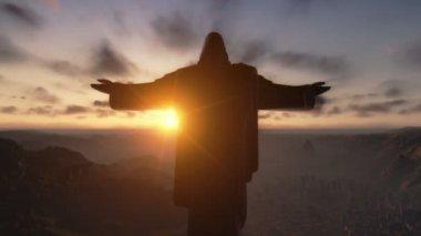 Kristus redemeer při západu slunce, rio de janeiro, fotoaparát posouvání — Stock video