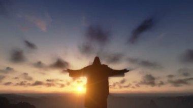 Christ the Redemeer at Sunset, Rio de Janeiro, camera panning — Stock Video