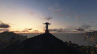 Christ the Redemeer at Sunset, Rio de Janeiro — Stock Video