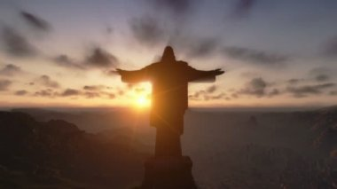Christ the Redemeer at Sunset, Rio de Janeiro, close up — Stock Video
