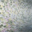 Various currencies tunnel fly through with light bloom — Stock Video