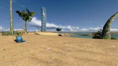 Vista laptop e hotel, timelapse do sol — Vídeo Stock