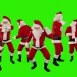 Bunch of Santa Claus Dancing Against Black, Christmas Holiday Background — Stock Video