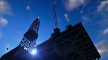 Oil Rig against blue sky, time lapse night to day — Stock Video