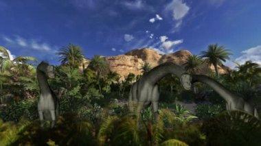 Brachiosaurus against timelapse clouds, seamless loop — Stock Video