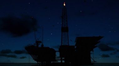 Oil rigs in ocean, time lapse sunrise night to day silhouette — Stock Video