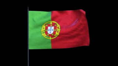Portugal Flag Waving, Seamless Loop, Alpha — Stockvideo
