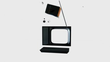 Old TV Transforming into a New TV against white — Stock Video