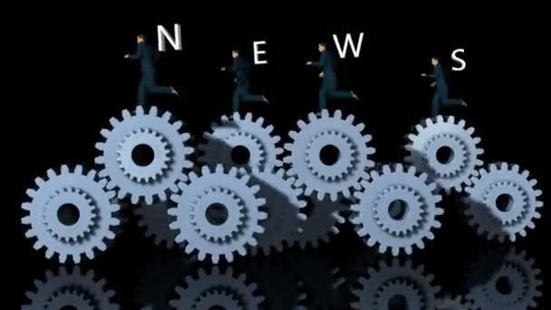 Engranajes del metal y businessmans con texto de noticias contra negro — Vídeo de stock