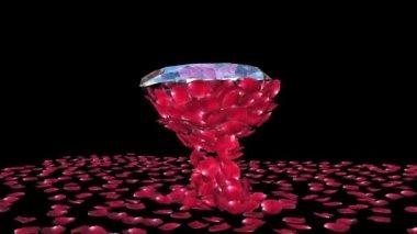 Diamond attracting rose petals, camera rotating, Luma Matte — Stock Video