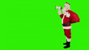 Santa Claus with a loudspeaker — Stock Video