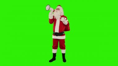 Santa Claus with a loudspeaker making an announcement — Stock Video