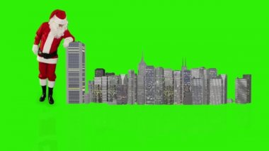 Santa Claus magically building a modern city — Vídeo Stock
