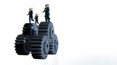 Metal Gears and Businessmen Running — Stock Video