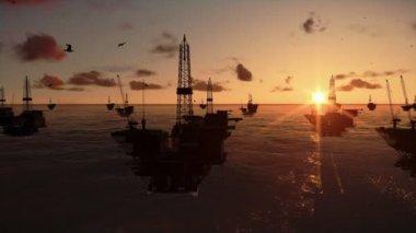 Oil rigs in ocean — Stock Video