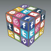 Cubo di rubik sociale 3.0 — Vettoriale Stock