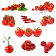 Tomatoes Collection Isolated on White - Stockfoto