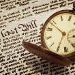 Old Pocket Watch and Will — Stock Photo