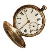 Antigo relógio de bolso, isolado no branco — Foto Stock