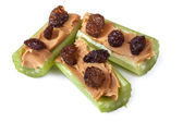 Celery Peanut Butter and Raisins — Stock Photo