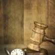 Gavel and Pocket Watch with Grunge Effects — Stock Photo