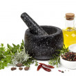 Mortar and Pestle with Herbs and Spices Isolated — Stock Photo