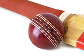 Cricket Ball and Bat over White — Stock Photo