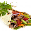 Stock Photo: Beef Wrap Sandwich Isolated