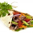 Beef Wrap Sandwich Isolated — Stock Photo
