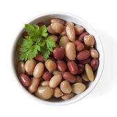 Three Bean Mix in Bowl Isolated — Stok fotoğraf