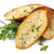Stock Photo: Garlic Bread with Herbs Isolated