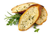 Garlic Bread with Herbs Isolated — Stock Photo