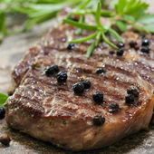 Grilled Steak with Peppercorns — Stock Photo