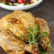 Roasted Chicken with Herbs and Greek Salad — Stock Photo