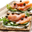 Smoked Salmon and Cream Cheese Crackers — Stock Photo