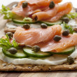 Smoked Salmon Crackers - Stock Photo