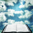图库照片: Open Bible with Grunge Sky