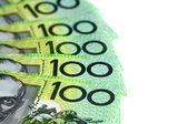 Australian One Hundred Dollar Bills over White — Stock Photo