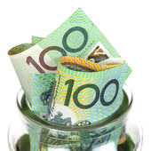Australian Money in Jar — Stock Photo