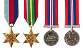 British and Australian War Medals Isolated — Stok fotoğraf