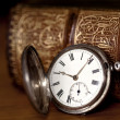Stock Photo: Pocket Watch with Old Book