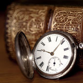 Pocket Watch with Old Book — Stock Photo
