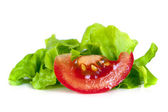 Tomato and Curly Lettuce Isolated — Stock Photo