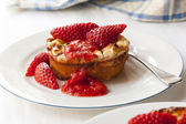 Baked Ricotta Dessert with Strawberries — Stock Photo