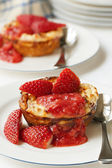 Baked Strawberry Ricotta Dessert — Stock Photo