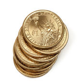 Pilha de moedas do dólar de um americano — Fotografia Stock