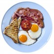 Stock Photo: Bacon and Eggs Isolated
