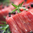 Raw Steak with Peppercorns and Herbs — Stock Photo #30378759