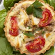 Tuna and Feta Tart with Tomatoes and Spinach — Stock Photo